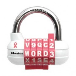 Master Lock 1534DPNK Breast Cancer Research Foundation Pink Ribbon Password Plus Set-Your-Own-Combination Padlock
