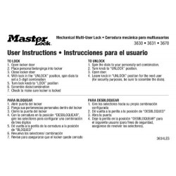 Master Lock 3634LES English Spanish Padlock Instruction Stickers