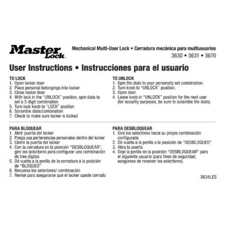Master Lock 3634LES English Spanish Padlock Instruction Stickers