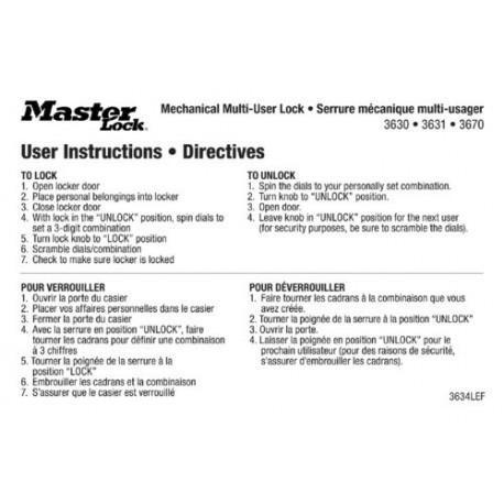Master Lock 3634lef English French Padlock Instruction Stickers