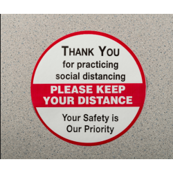 """Mutual Industries 17801-9179-650 Social Distancing Die Cut Floor Decals- Please Keep Your Distance , 6"""" White Black/ Red"""