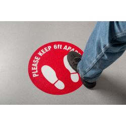 """Mutual Industries 27000 Social Distancing Larger 18"""" Anti-Skid Floor Decals Red/White"""