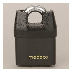"54*52 Medeco No. 54 High Security Shrouded Padlock with 5/16"" Shackle Diameter, Key-In-Knob Cylinder"