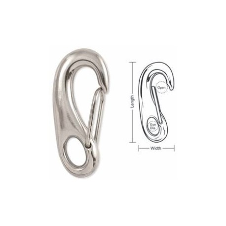 A591 A592 A593 Tough Links Stainless Carabiner Snaps, Wire Gate, Fixed Eye