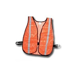 "Mutual Industries Non-ANSI High Visibility Soft Mesh Safety Vest - 1"" Silver Reflective Stripe"