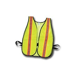 "Mutual Industries Non-ANSI High Visibility Soft Mesh Safety Vest - 1-1/2"" Orange/Silver/Orange Reflective Stripe"