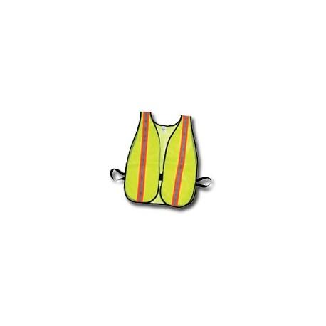 "Mutual Industries Non-ANSI High Visibility Soft Mesh Safety Vest - 1-1/2"" Orange/Silver/Orange Reflective Stripe"