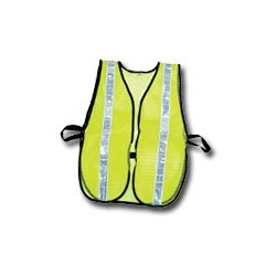 "Mutual Industries Non-ANSI High Visibility Soft Mesh Safety Vest (Lime) - 1-3/8"" White Reflective Stripe"
