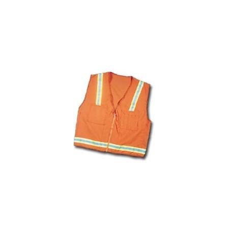 Mutual Industries Surveyor Safety Vest - Lime/Silver/Lime Reflective Stripe