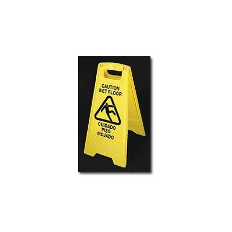"Mutual Industries ""Caution Wet Floor"" Yellow Industrial Floor Sign in English & Spanish"