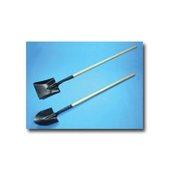 Mutual Industries Long Handle Square Point Digging Shovel with Roll Back Step