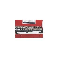 "Genius Tools TW-626MS 26PC 3/4"" Dr. Metric & SAE Hand Socket Set"