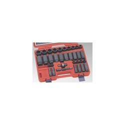 "Genius Tools GS-434S 34PC 1/2"" Dr. SAE Master Impact Socket Set"