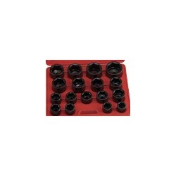 "Genius Tools IS-817S 17PC 1"" Dr. SAE Impact Socket Set"