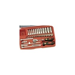 "Genius Tools EU-232M 32PC 1/4"" Dr. Metric Deep Hand Socket Set"