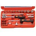 """Genius Tools EU-228S 28PC 1/4"""" Dr. SAE Hand Socket Set"""