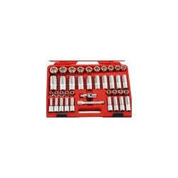 "Genius Tools DS-440M 40PC 1/2"" Dr. Metric Deep Hand Socket Set"