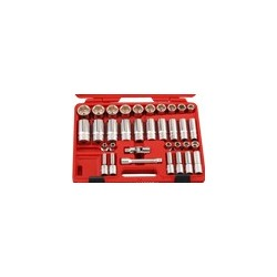 "Genius Tools DS-434S 34PC 1/2"" Dr. SAE Deep Hand Socket Set"
