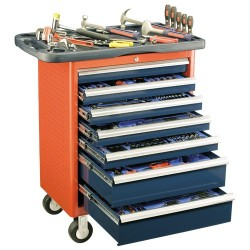 Genius Tools MS-266TS 266PC Metric Mechanics Tool Set with Roller cabinet