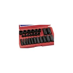 Genius Tools CM-326S 26PC 3/8 Inch Dr. SAE Impact Socket Set
