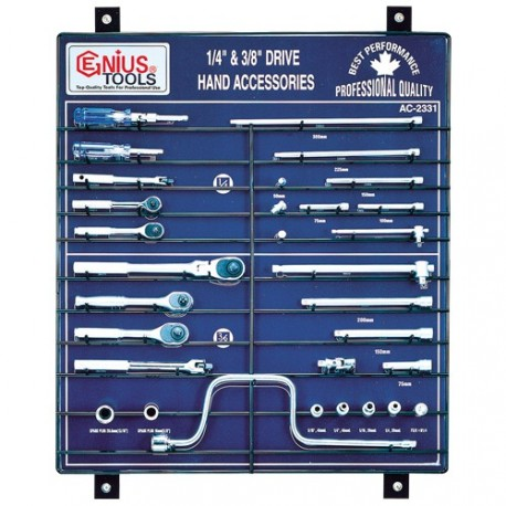 "Genius Tools AC-2331 31PC 1/4"" & 3/8"" Dr. Accessories Display Board"