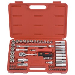 "Genius Tools AC-359B 59PC 3/8"" Dr. Metric Hand Socket(12Pt.) & Bit Set"