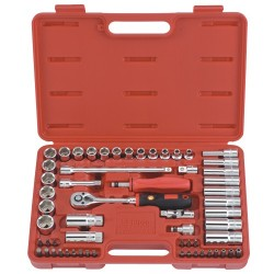 "Genius Tools AC-359C 59PC 3/8"" Dr. Metric Hand Socket(6Pt.) & Bit Set"