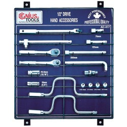 "Genius Tools AC-417 17PC 1/2"" Dr. Accessories Display Board"
