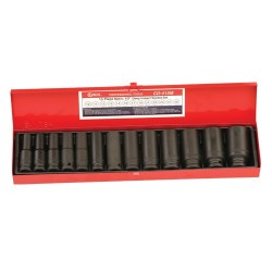 "Genius Tools CD-415M 13PC 1/2"" Dr. Metric Deep Impact Socket Set"