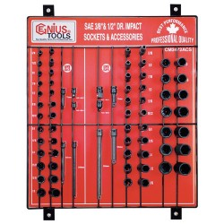 "Genius Tools CM-3472 72PC 3/8 & 1/2"" Dr. Impact Sockets Display Board"