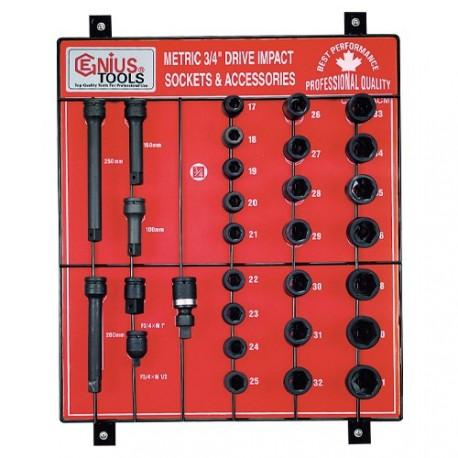 "Genius Tools CM-630ACM 30PC 3/4"" Dr. Impact Sockets Display Board"