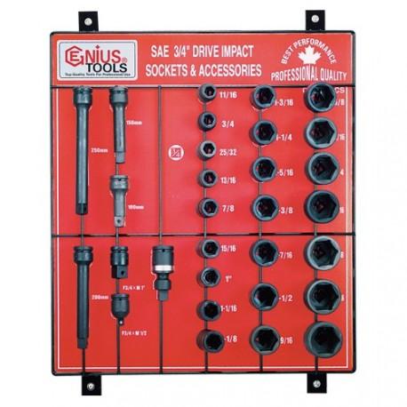 "Genius Tools CM-630ACS 30PC 3/4"" Dr. Impact Sockets Display Board"