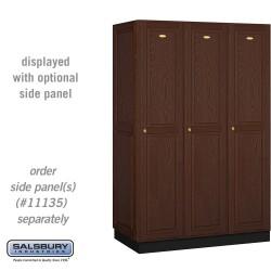 Salsbury Solid Oak Executive Wood Locker - Single Tier - 3 Wide - 6 Feet High
