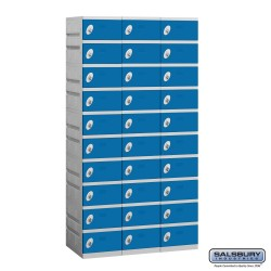 Salsbury Plastic Locker - Ten Tier - 3 Wide - 73 Inches High - 18 Inches Deep