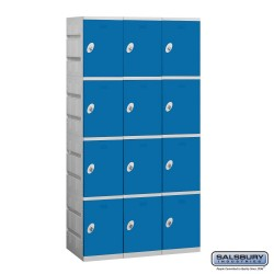Salsbury Plastic Locker - Four Tier - 3 Wide - 73 Inches High - 18 Inches Deep