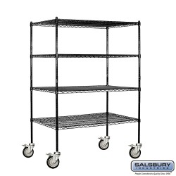 Salsbury Wire Cart Mobile Shelving - 48 Inches Wide - 24 Inches Deep