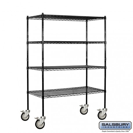 Salsbury Wire Cart Mobile Shelving - 48 Inches Wide - 18 Inches Deep
