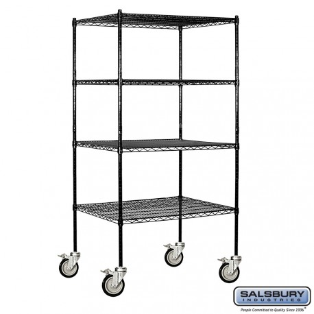 Salsbury Tall Wire Cart Mobile Shelving - 36 Inches Wide - 24 Inches Deep