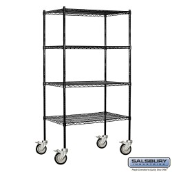 Salsbury Tall Wire Cart Mobile Shelving - 36 Inches Wide - 18 Inches Deep