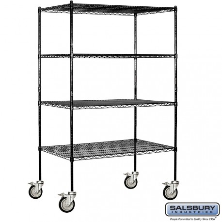 Salsbury Tall Wire Cart Mobile Shelving - 48 Inches Wide - 24 Inches Deep