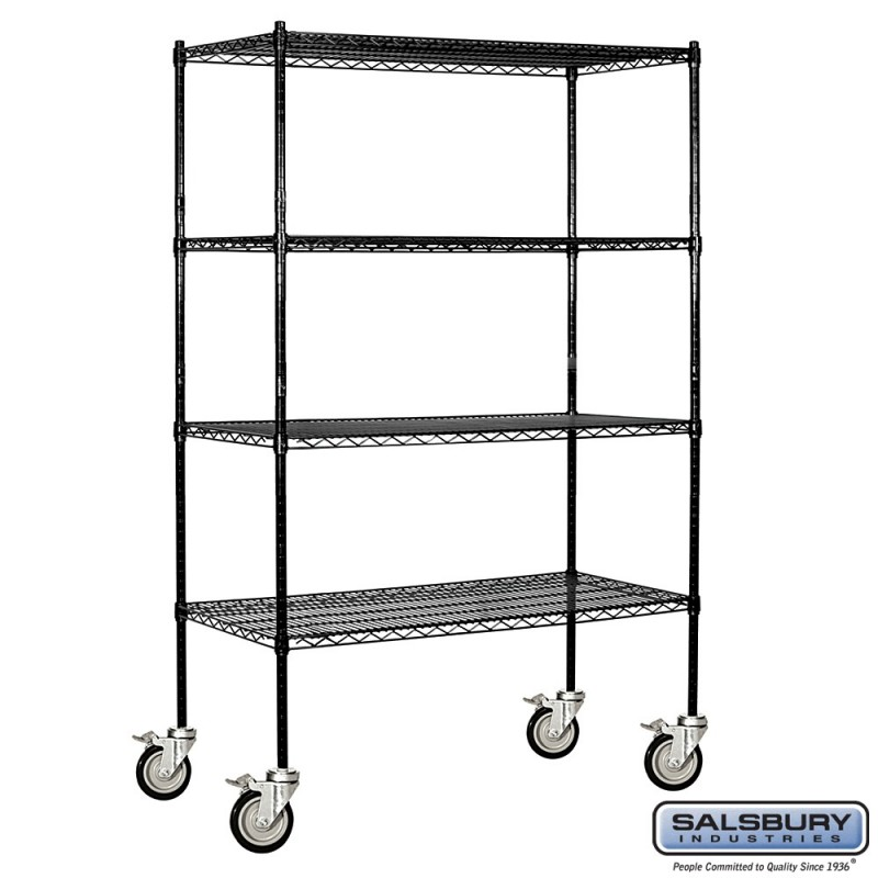 Salsbury Tall Wire Cart Mobile Shelving - 48 Inches Wide - 18 Inches ...