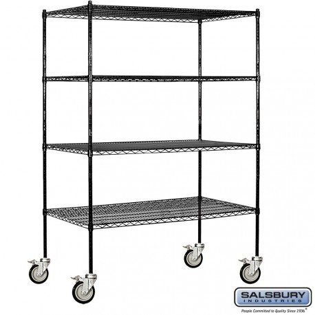 Salsbury Tall Wire Cart Mobile Shelving 60 Inches Wide 24 Inches