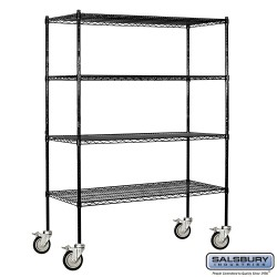 Salsbury Tall Wire Cart Mobile Shelving - 60 Inches Wide - 18 Inches Deep