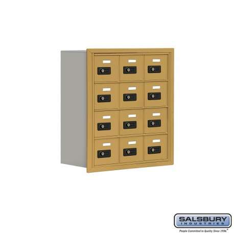 """Salsbury 1914807 Cell Phone Lockers Four Door High, 8"""" Deep Compartments with Front Access Panel"""
