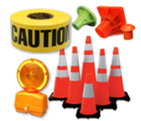 Traffic Safety Cones, Barricades, Beacons, Hard Hats, Rebar Caps, Fences, Personal Protection, ANSI & OSHA Certified